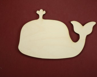 Whale with Spout Shape Unfinished Wood Laser Cut Shapes Crafts Variety of Sizes