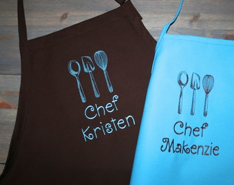 """As seen on Giada at Home…24"""" or 34""""L  Kitchen Utensils--Custom Embroidered Girly Ladies & Youth Apron-- 2 youth sizes avail-"""