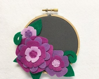 Fabric Wall Art, Embroidery Hoop Art, Purple Petals, Floral Wall Decor, Hoop Wall Hanging, Felt Flower Hoop, Gift under 20