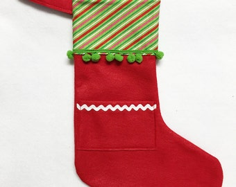 Felt Stocking, Pocket Stocking, Pocket Peeper - Candy Cane, Stripes, Red Stocking