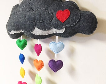 Rain Cloud Mobile, Wool Felt Cloud, Plush Rain Drops, Wall Art, Nursery and Rainbow Decoration, Raindrops, Spring