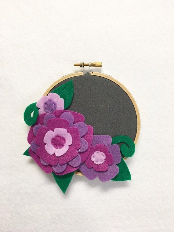 Fabric Wall Art, Embroidery Hoop Art, Purple Petals, Floral Wall Decor, Hoop Wall Hanging, Felt Flower Hoop, Gift under 20