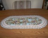 Crocheted Easter Table Runner  Baskets Eggs Bunnies Spring Flowers Fabric Center Crocheted Edge Light Blue Centerpiece Dresser Scarf