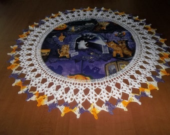 Halloween Doily Scaredy Cats Kittens Ghosts Crocheted Edge Fabric Center Lace Doily Crochet Doilies Centerpiece Handmade 18 inches