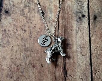 Spaniel dog initial necklace - spaniel jewelry, dog breed necklace, springer spaniel necklace, dog breed jewelry, spaniel jewelry
