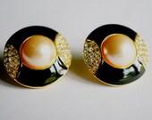 Black Enamel Rhinestone Pearl n Crystal earring, Ladies Jewelry