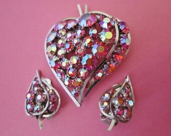Vintage Rhinestone Brooch and Earrings Set Signed Continental
