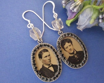 Antique Tintype Earrings with Black Rhinestones. Gem Tintype Earrings