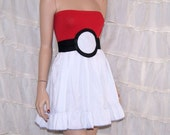 PokeBall Strapless Red White Summer Sun Dress Cosplay Costume Adult All Sizes MTCoffinz