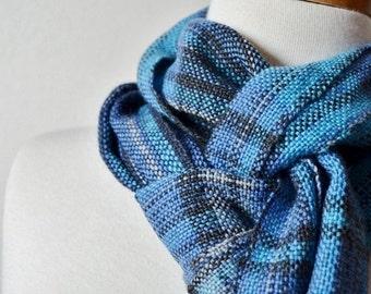 October Sale Blue Faux Plaid Scarf - Handwoven Scarf in Wool Blend Yarn & Alpaca Silk - Soft Fall Fashion for Men or Women