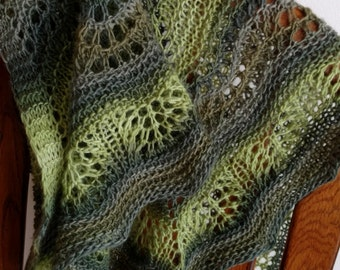 waves mini shawl in spring, forest, and olive greens - gradient, handknit, boho, mori girl, handmade accessories