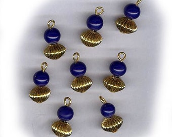 vintage glass drops with puffy metal bottoms NAVY BLUE easy to connect dangles small russian gold plate EIGHT drops