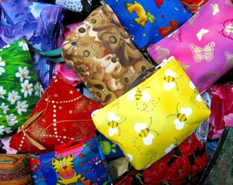 Coin purses, BULK LOT - SAVE!  Wholesale! Coin purses, Small zippered coin purses,  Wallets, Handcrafted!  Perfect for resale!