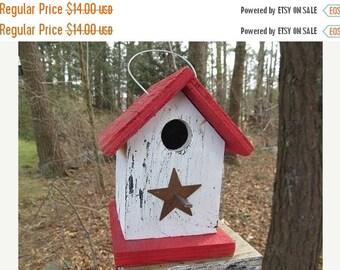 SUMMER SALE Chickadee Wren Songbird White and Red Primitive Birdhouse Metal Star
