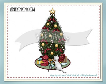 Digital Stamp - Christmas Peace - Cat and Mouse under the tree