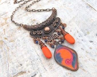 Unique orange Bib necklace copper bold necklace Boho bohemian Gypsy jewelry