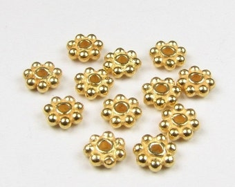 CIJ SALE 4mm 24k Gold Vermeil Bali Daisy Spacer Beads (50 pieces)