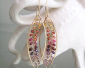 Long Sapphire Leaf Earrings with Gemstone Vines, Ombre Elongated Lightweight Hoops