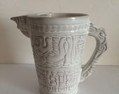 Aztec White Frankoma Water Pitcher Jug 8 Inch Tall