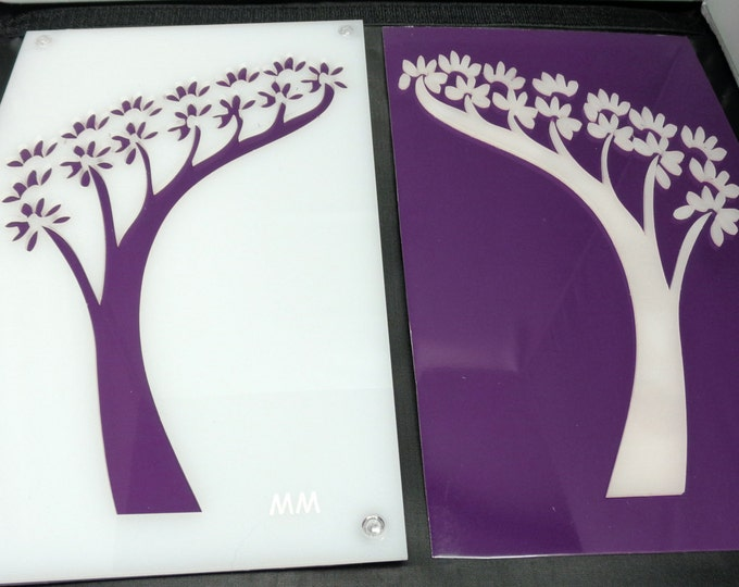 Bonsai Tree Set of 2 Acrylic and Recycled Aluminum in Purple