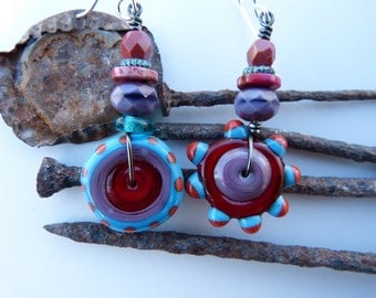 Red, Orange, Purple and Turquoise Blue Lampwork Disc Bead Earrings