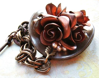 Sophia  Vintage Copper Flower, Pearl and Celluloid Button Bracelet