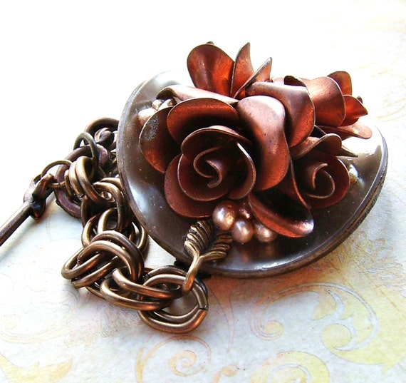 Sophia  Vintage Copper Flower, Pearl and Celluloid Button Bracelet