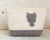Owl Silhouette Zip Pouch, Eco Friendly, Upcycled Felted Wool Clutch