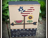 Summer Rooster Watermelon Sunflower Wood Shelf Sitter Block