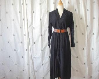Vintage Classic Black Day Dress, Faux Wrap, Long Knee Length, D.B. Designs, Size Medium, Large, Shirt Waist Dress