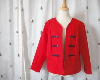 Chic Vintage Red and Navy Blazer, Jacket, Women, Plus Size, Military, Nautical, Extra Large