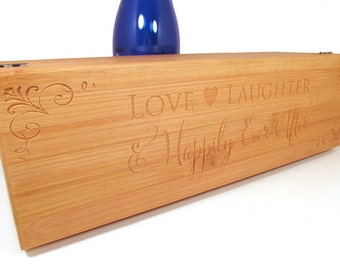 Wedding Wine Box - Personalized Bamboo Wine Box With Tools - Love, Laughter and Happily Ever After Wine Gift Box