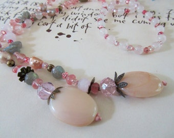 Pink Opal and Grey Labradorite Lariat Necklace, Beaded Jewelry, Pink and Grey Y Necklace