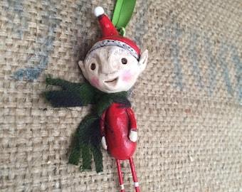 Red Elf folk art Christmas ornament Ready to ship with plaid scarf