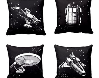 Star Trek Throw pillows, Doctor Who Tardis throw pillow, Firefly Serenity Pillow cover, Enterprise pillow, Cotton, Sci-Fi, Geek pillows