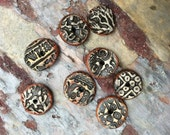Rustc Weathered Coin Bead Set.  Foxpaws Artisan Handmade Ceramic Rustic Pendant.