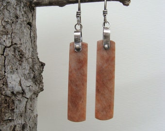 Silver Orange Rainbow Sunstone Artisan Handcrafted Oxidized Earrings