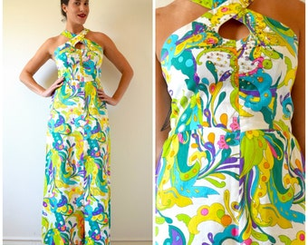 Vintage 60s 70s Neon Psychedelic Print Bedazzled Bodice Maxi Dress (size medium)