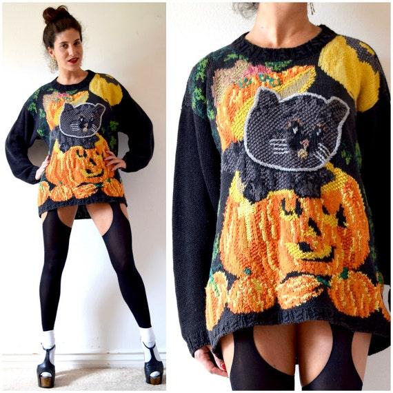 Vintage 80s 90s All Hallows Hand Knit Jack O Lantern and Black Cat Oversized Novelty Sweater