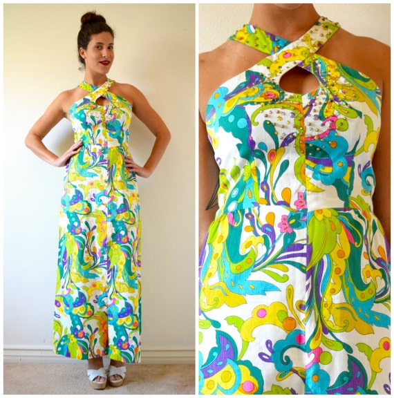 SPRING SALE/ 20% off Vintage 60s 70s Neon Psychedelic Print Bedazzled Bodice Maxi Dress (size medium)