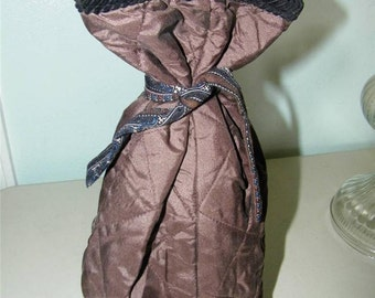 Quilted Brown Silky Wine Sleeve Bag 12199 Shirting Gift Spirits Liquor