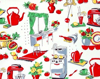 Michael Miller Fabric, Fifties Kitchen, Retro - HALF YARD