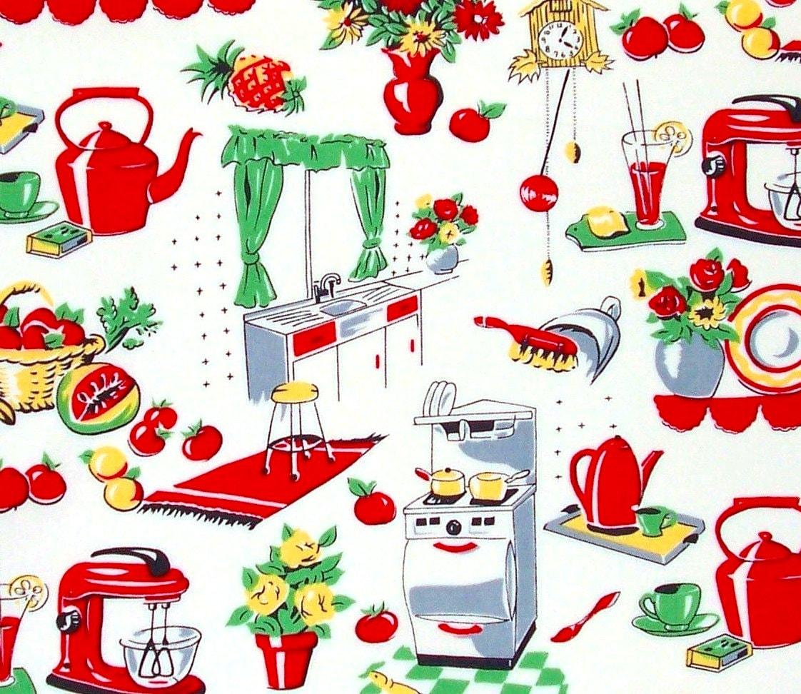 Kitchen Fabric: Michael Miller Fabric Fifties Kitchen Retro HALF YARD