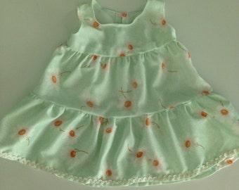 Vintage 70s Fabric Handmade Daisy Dress Size 2T