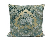 Blue Cut Velvet Pillow 16x16, decorative cushion cover, shabby chic, chenille pillow handmade from vintage upholstery fabrics by EllaOsix