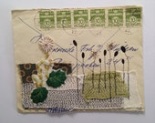 Original Mixed Media Collage - Envelope with textile - green - SEW Somerset