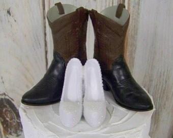 Custom Painted Cake Topper, Rustic, Western Cake Topper, Cowboy Boots-Wedding Cake Topper-Barn Wedding