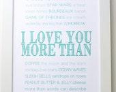 FRAMED Love You More art, Custom Art, Valentine Gift, Typography Wall Art, Custom Gift, Gift for Him, Gift for Her, Anniversary Gift