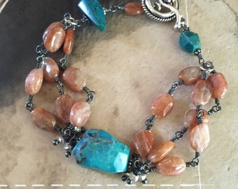 rustic turquoise bracelet sterling silver sunstone oxidized sterling silver wire wrapped