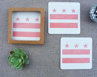 Letterpress Coasters - Washington DC Local Love - DC Flag Coaster - Set of 8 - LLV-340